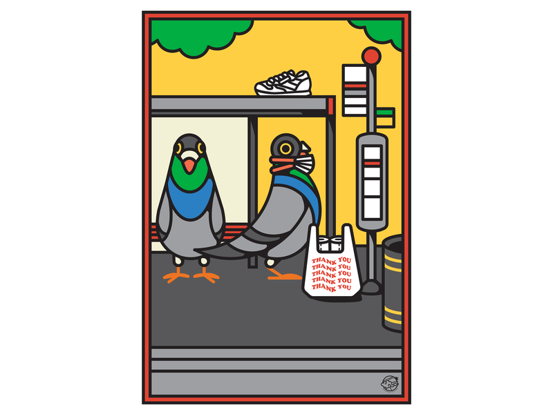London Pigeons waiting for the 94 bus. coronavirus social distancing london transport museum ltmuseum london bus transport tfl poster art poster illustration pigeon london pigeon london eye poster editorialart illustration editorialdesign poster design graphicdesigner editorialillustration freelanceillustrator