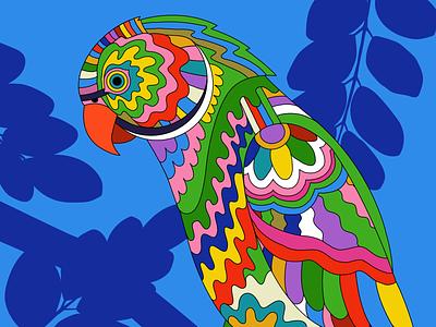 PSYCHEDELIC LONDON PARAKEETS psychedelic psychedelicillustration londonillustrator colourfulillustration colorfulillustration tropicalillustration birdillustration spotart editorialart coverart poster design graphicdesigner editorialillustration freelanceillustrator illustration