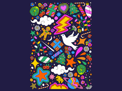 Modern Christmas themed illustrated pattern festival illustratedposter christmasposter christmaspackaging christmaspattern christmasicons merrychristmas christmas poster design freelanceillustrator illustration