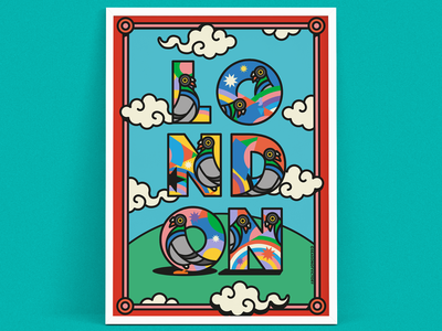 London themed art print illustration - In The City poster
