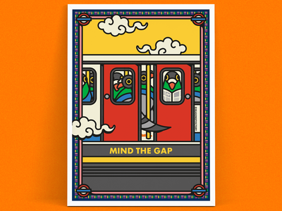 London themed art print illustration - Mind The Gap