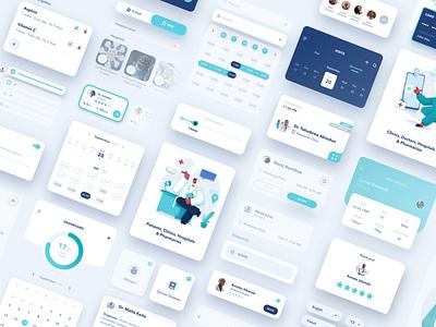 Afrimed UI Components doctor app healthcare app medical app branding illustration app ux ui design