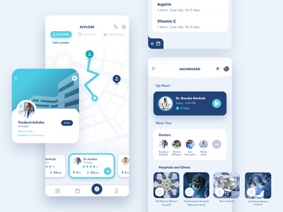 Afrimed UI medical app branding design app healthcare app doctor app ui ux