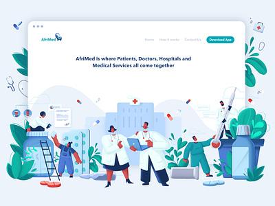 Afrimed Website app web illustration ux ui doctor app healthcare app webdesig design