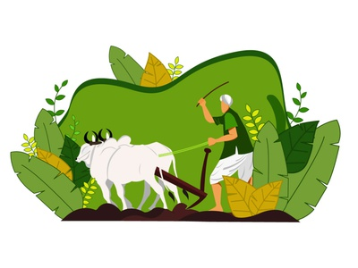 Farming nature drawing farmer illustraion