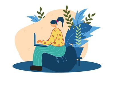 Lady Designer Illustration drawing flat colors work illustraion