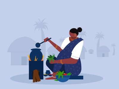 Village Women cooking villagelife sketching character design illustrations