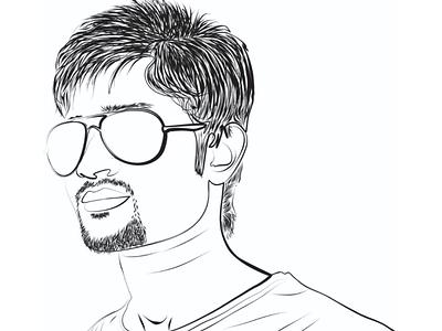 Portrait line art illustration drawing portrait