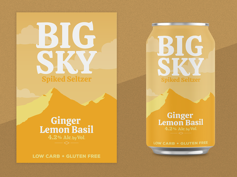 Ginger Lemon Basil Seltzer soda flavor lemon logo branding mountain hard seltzer alcohol montana can seltzer