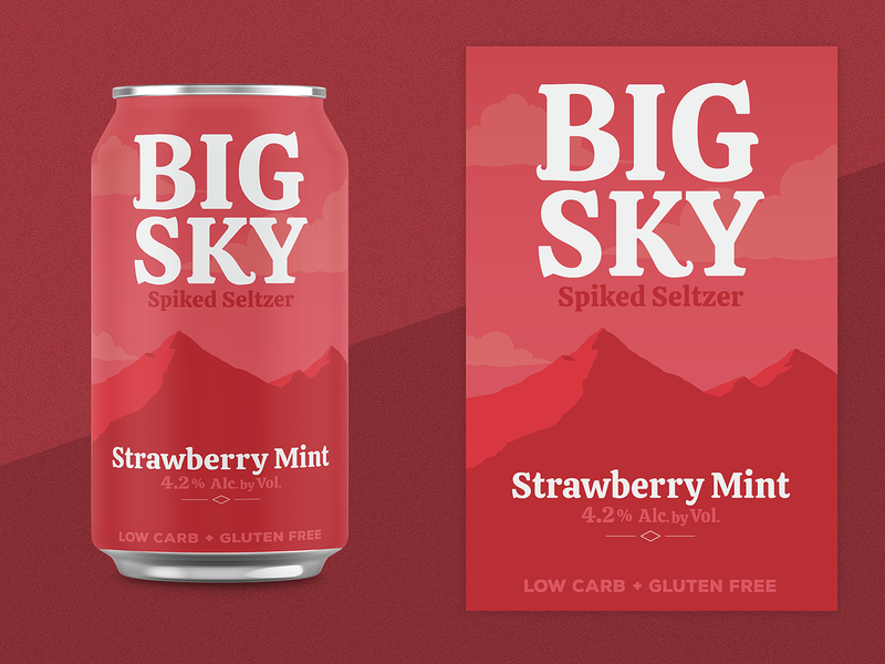 Strawberry Mint Seltzer mint strawberry type soda seltzer mountain montana logo hard seltzer flavor can branding big sky alcohol