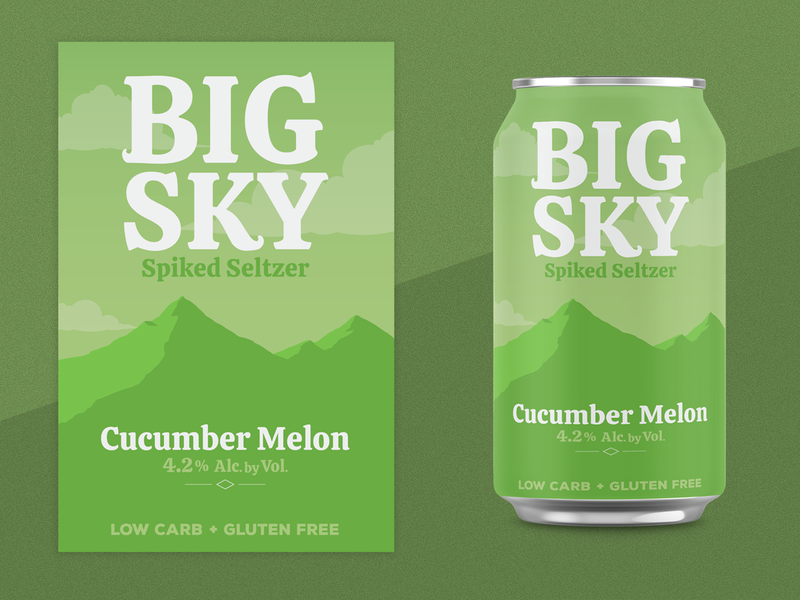 Cucumber Melon Seltzer type soda seltzer mountain montana logo hard seltzer flavor can branding big sky alcohol