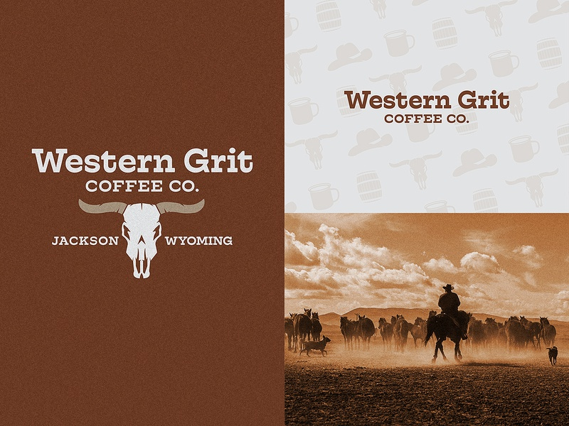 Western Grit Coffee Co. utah type horse skull wild west cowboy wyoming branding logo western coffee