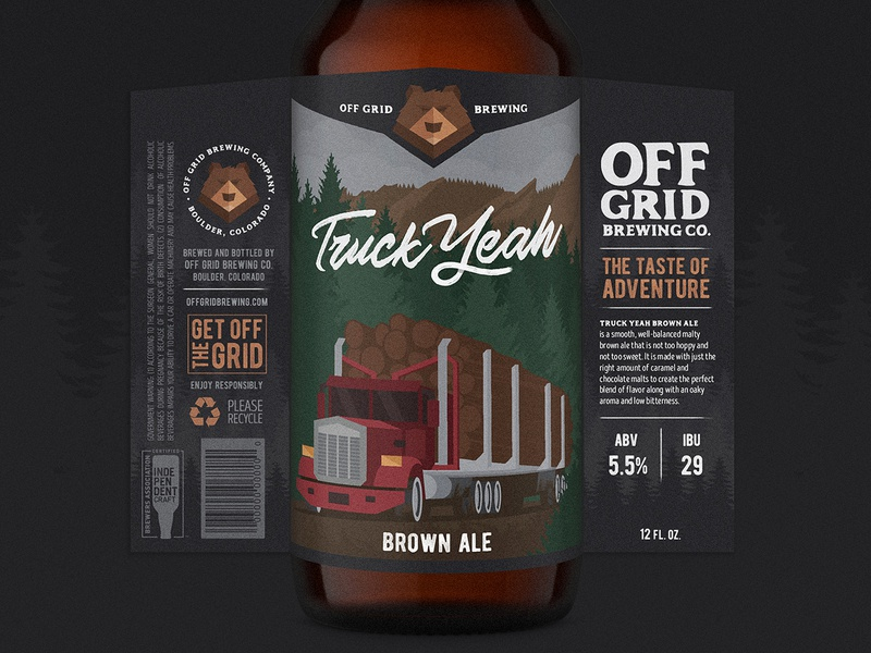 Truck Yeah brown ale logo illustration lettering truck beer branding bear colorado beer label craft beer beer