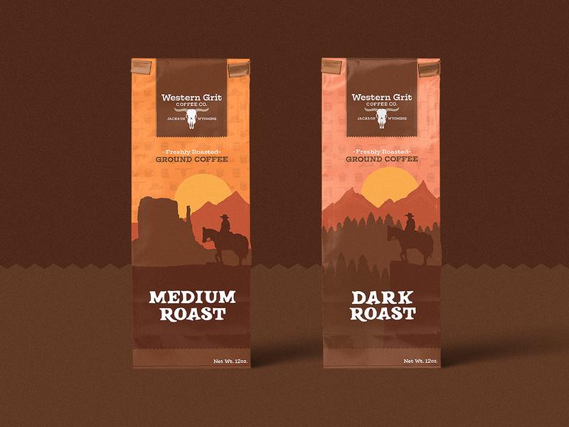 Western Grit Coffee illustration western wild west cowboy logo branding packaging ground coffee coffee