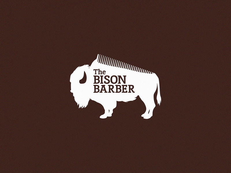 Bison Barber branding wyoming buffalo barbershop comb barber bison logo