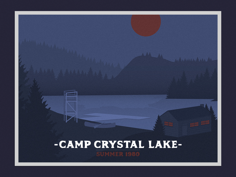 Camp Crystal Lake Postcard illustration cabin badge camp crystal lake lake film horror camp friday the 13th postcard