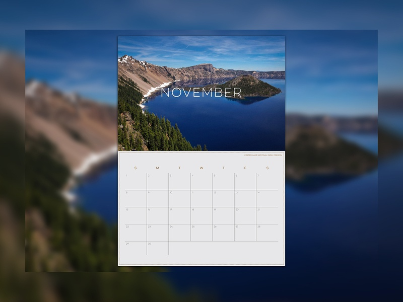 Personal Calendar Part 2 december november october september august july national park photography landscape calendar