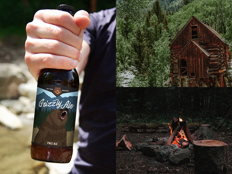 Off Grid Brewing nature typography branding beer bottle camping colorado beer label outdoors craft beer beer