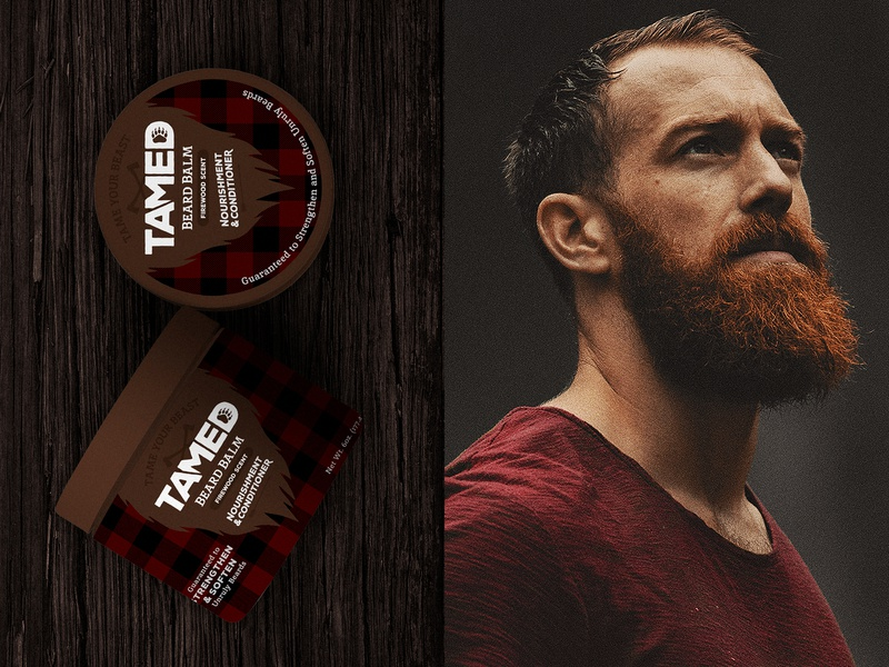 Tamed Beard Balm logo bear packaging cosmetic campfire flannel lumberjack grooming beard balm beard
