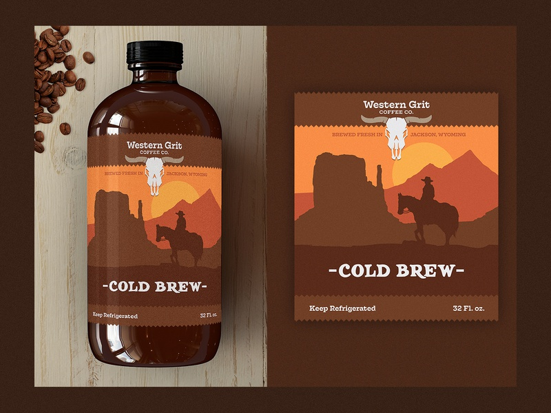 Western Grit Cold Brew branding wild west cowboy western packaging coffee label cold brew