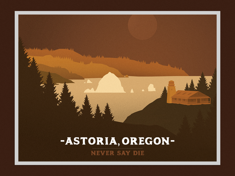 Astoria Postcard vector illustration badge astoria 80s goonies film the goonies postcard oregon
