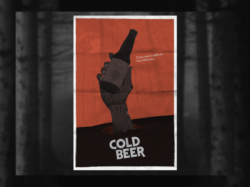 Cold Beer poster zombie halloween horror evil dead 80s cold beer beer