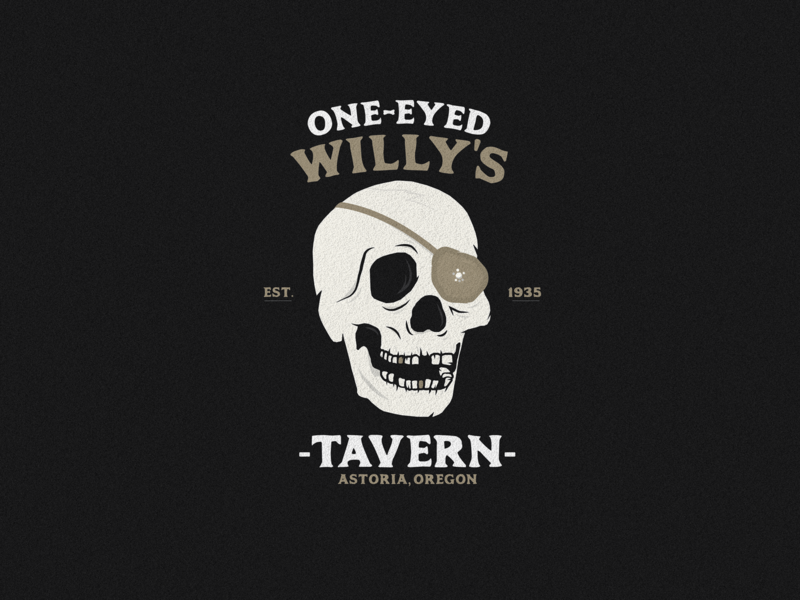 One-Eyed Willy's type vector astoria oregon bar tavern pirate eyepatch goonies skeleton typography skull logo