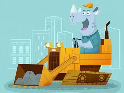 Rhino in digger