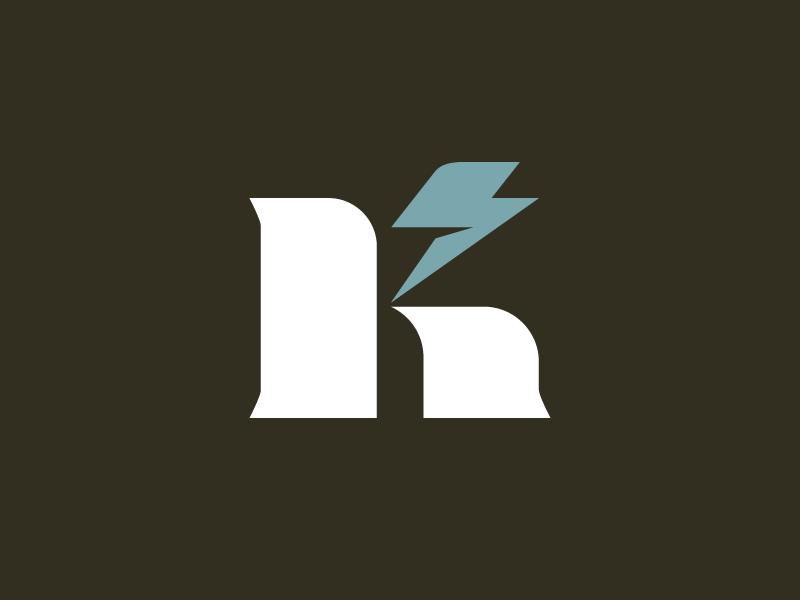 Kratt Electric lockup bolt lightning logotype wordmark k letter electric