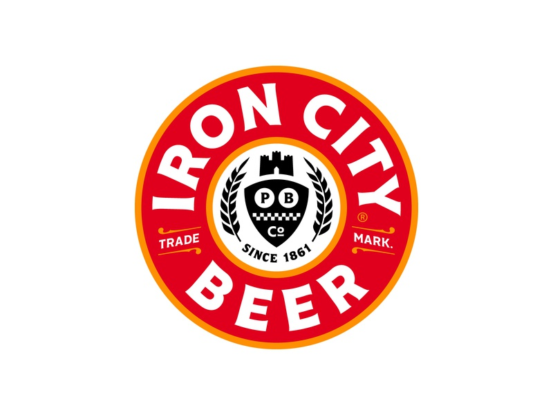 Iron City Beer Seal ironcitybeer bold red gold black brand typography lockup identity mark logo branding pittsburgh rebrand refresh craft city iron beer ironcity