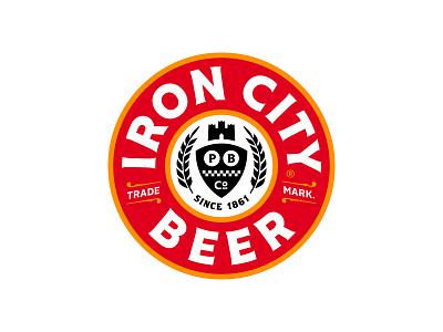 Iron City Beer Seal ironcitybeer bold red gold black brand typography lockup identity mark logo branding pittsburgh rebrand refresh craft city iron beer ironcity