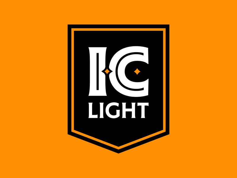I.C. Light Banner Logo steel champion lightbeer light city iron ironcity craft craftbeer beer gold black brand bold pittsburgh icon identity branding mark logo