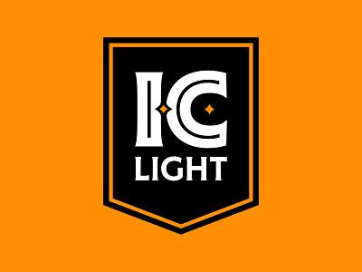 I.C. Light Banner Logo steel champion lightbeer light city iron ironcity craft craftbeer beer gold black brand bold pittsburgh icon identity branding mark logo