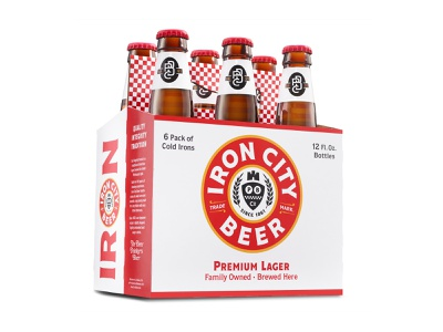 Iron City Beer 6 Pack bridges steel pittsburgh gold black red checker package packagedesign pack six 6pack carrier bottles bottle craft beer city iron ironcitybeer