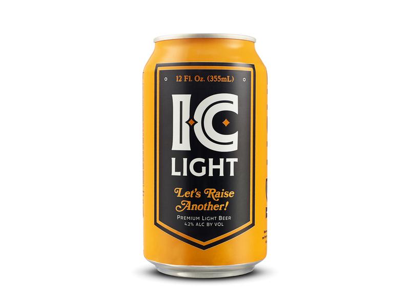 IC Light 12 OZ mark identity package beverage classic bold logo champion product lockup banner gold black iron city lightbeer craft 12oz beer pittsburgh