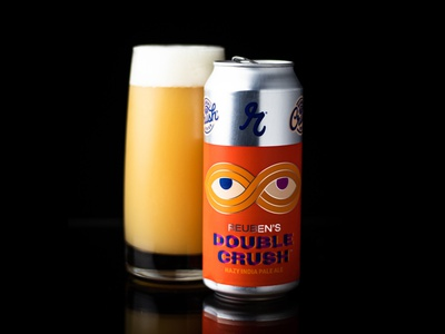 Reuben's Brews® Double Crush silver matte knot package ipa ale pale india hazy bright pantone glass wrap design can label orange eyes beer craft