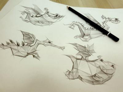 Sketch sketch dragon game character illustation lowpoly polygon vietnam