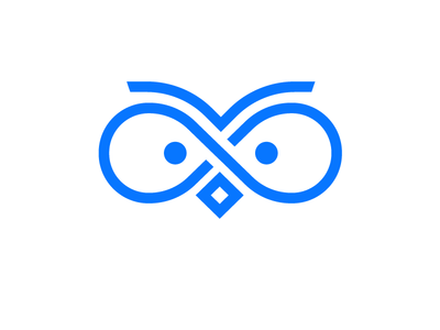 Owl logo minimalist appicon infinite vietnam baohuynh line symbol icon blue logo owls owl