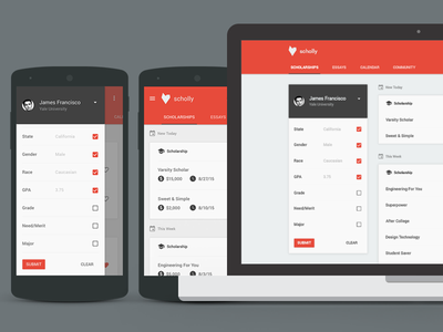 Scholly App Re-Design web flat material ui ux white app mobile icon minimal polymer school