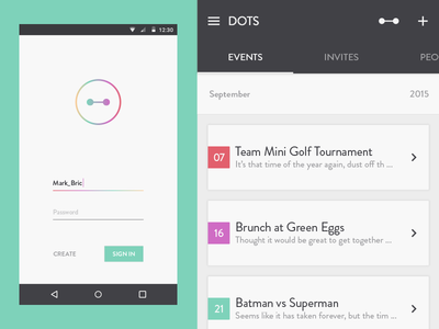 Dots event dash app calendar minimal flat social android material white ux ui
