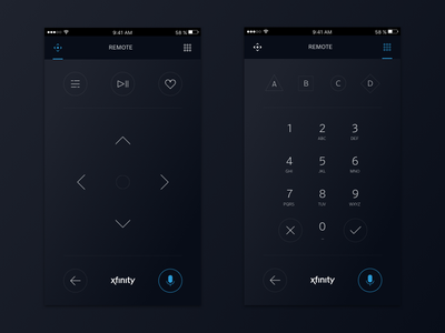 Xfinity Remote App Concept logo ux ui design icon app tv remote brand xfinity comcast
