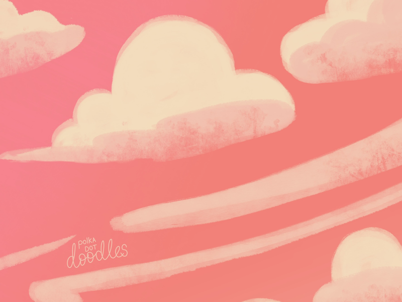 Pink sky at night illustration drawing clouds digitaldoodle pinksky procreate