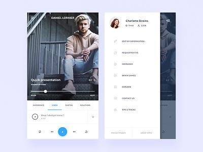 Resumes Videos Explorer shrinked navigation bar unsplash left menu mobile app resume video