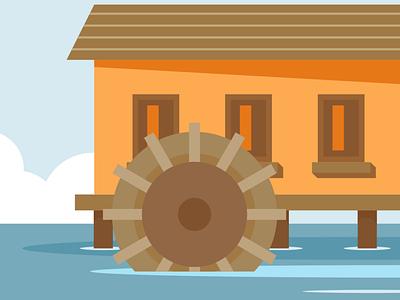 Waterwheel design vector illustration flatposter flatdesign