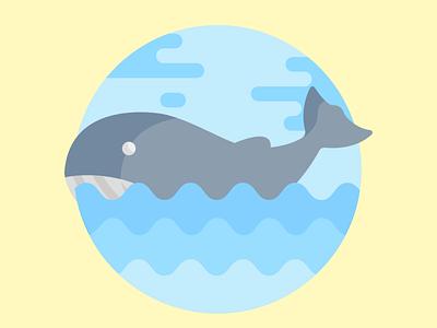 Blue whale illustration design flatposter flatdesign
