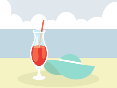Wine onthe beach vector illustration flatposter flatdesign