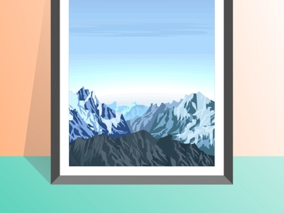 Blue mountains landscape vector illustration design flatposter flatdesign