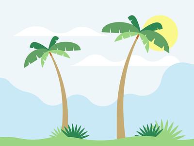 Palm trees landscape vector illustration design flatposter flatdesign