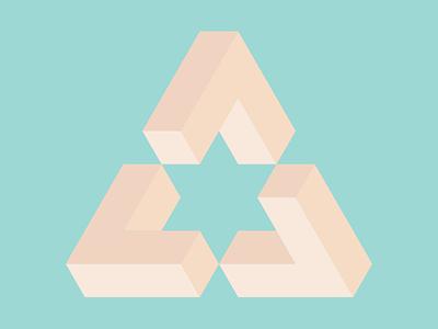 Peachy impossible triangle isometric geometry geometric art geometric illustration design flatposter flatdesign