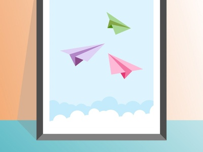 Paper planes vector illustration design flatposter flatdesign